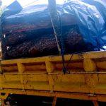 KAYU CURIAN: Truk pengangkut kayu hasil curian berhasil distop dii Blok Cintaasih, Kecamatan Gekbrong.
