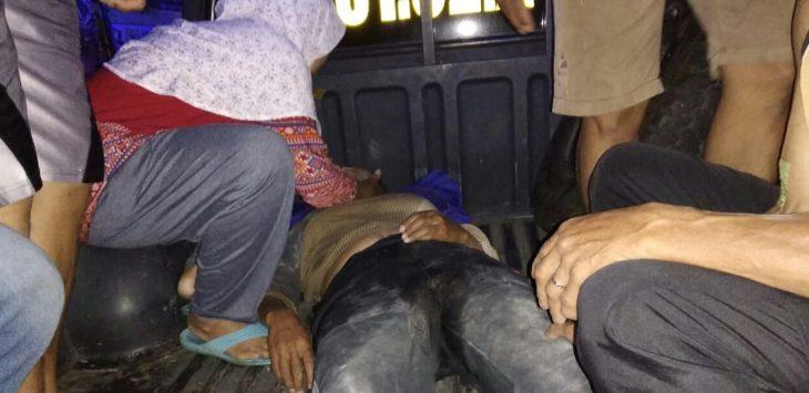 Salah satu korban tertimbun longsor di Pondoksalam, yang berhasil di evakuasi team SAR dan Masyarakat