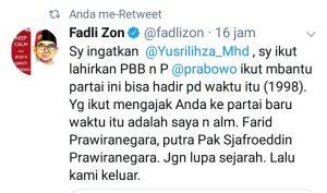 Cuitan Fadli Zon yang menyentil Yusril Ihza Mahendra di Twitter.