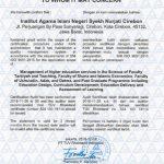 Sertifikat ISO yang diterima IAIN Syekh Nurjati Cirebon