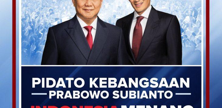 Pidato Kebangsaan Indonesia Menang dari Capres Prabowo Subianto (ist)