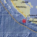 Gempa 5 SR yang terjadi di perairan Lampung pada Sabtu malam (12/1). Perairan ini tidak jauh dari Selat Sunda. (ist)