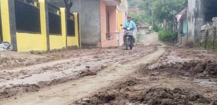 PARAH: Kondisi jalan yang melintas lima desa di Kecamatan Simpanen rusak parah dan harus segera diperbaiki.