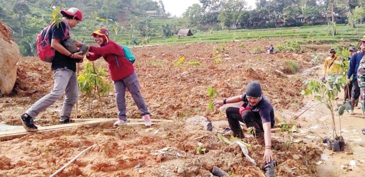 PENGHIJAUAN : Anggota TNI, BPBD dan relawan saat tengah melakukan penanaman pohon untuk penghijauan di lahan bekas longsor, Kampung Garehong, Dusun Cimapag, Desa Sirnaresmi, Kecamatan Cisolok, Rabu (23/1).