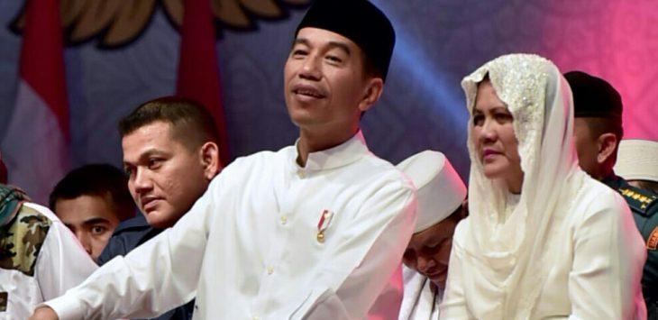 Presiden Joko Widodo (Jokowi) beserta ibu Iriana Joko Widodo saat menghadiri pengajian beberapa waktu lalu di Karawang