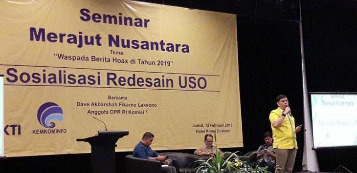 Dave Akbarsyah Fikarno, Anggota Komisi I DPR RI saat memberikan materi mengenai berita hoax di hotel Prima Jalan Siliwangi, Kota Cirebon. /Foto: Alwi
