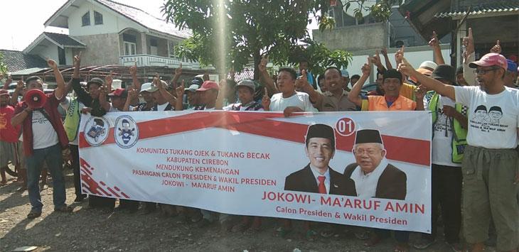komunits tukang ojeg dan tukang becak  deklarasikan mendukung pasangan 01 (kir/pojokjabar.com)