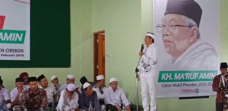 Ketua TKD Dedi Mulyadi, sekaligus Ketua DPD Golkar Jawa Barat memberi sambutan acara Forum Ulama dan Kiai (Formula) di kantor PCNU Kabupaten Cirebon. (Alwi)