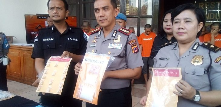 Polrestabes Bandung beberkan kasus peredaran narkoba di Kota Bandung, Selasa (19/2/2019)./Foro: Arief
