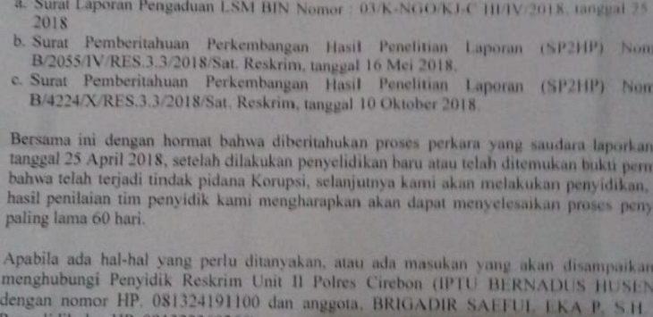 SP2HP kasus korupsi di Cirebon./Foto: Yon