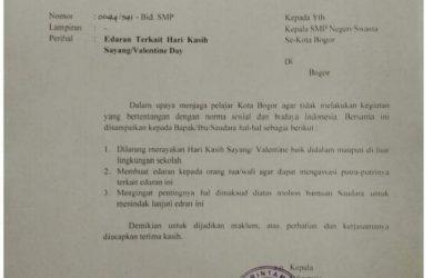 Disdik Kota Bogor Cuma Sanggup Imbau Larang Hari Valentine