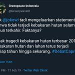Unggahan Greenpeace Indonesia yang membantah Jokowi terkait kebakaran hutan di Indonesia (ist)