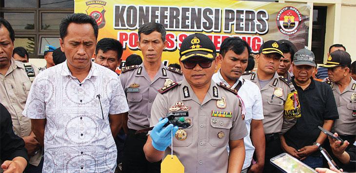 KONPERS: Kapolres Sumedang AKBP Hartoyo memberikan keterangan pers saat pengungkapan kasus C3, Sabtu (9/2/19). AGUN GUNAWAN/RADAR SUMEDANG