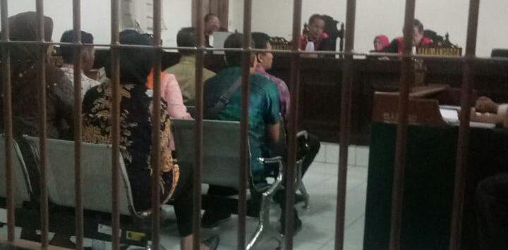 Para saksi tambahan sebanyak 9 orang dari kesekretariatan dewan yang dihadirkan tim jpu purwakarta, pada sidang kasus sppd fiktif di dprd purwakarta.