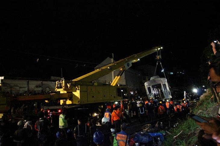 Evakuasi Kereta Anjlok di Kebon Pedes