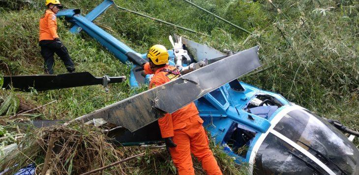 Helikopter yang jatuh di Tasikmalaya Jawa Barat (ist)