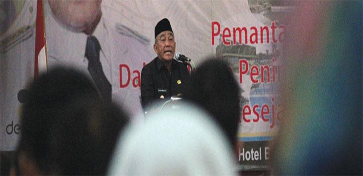 Walikota Depok, Mohammad Idris saat memberikan pemaparan dalam acara Pembukaan Musrenbang Tingkat Kota Depok Tahun 2020 di Hotel Bumi Wiyata, Rabu (13/3/19). Ahmad Fachry/Radar Depok