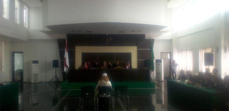 Sidang ketiga kasus Habib Bahar bin Smith di gedung arsip perpustakaan kota Bandung. (Arief)