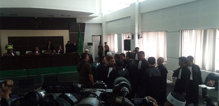 Suasana Persidangan Habib Baharbin Smith di gedung arsip perpusatakaan kota Bandung. (Arief)