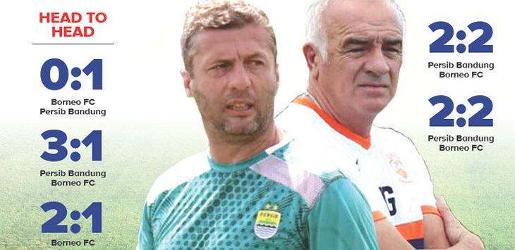 Pelatih Borneo FC Mario Gomez dan Pelatih Persib Bandung Miljan Radovic