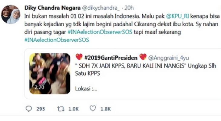 Tak Tahan, Dicky Chandra Pasang Tagar INA Election Observer SOS, Warganet 'Terpancing'