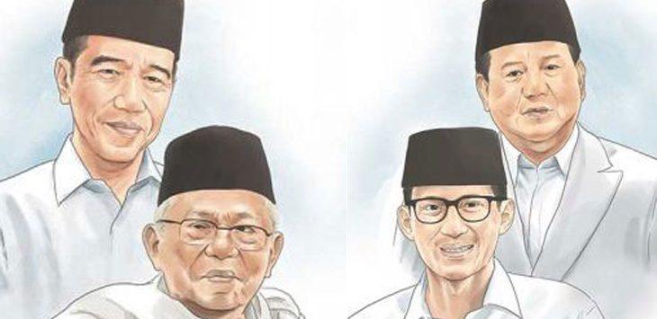Ilustrasi Pilpres 2019 pasangan Jokowi - Ma;ruf dan Prabowo-Sandi/ JPNN
