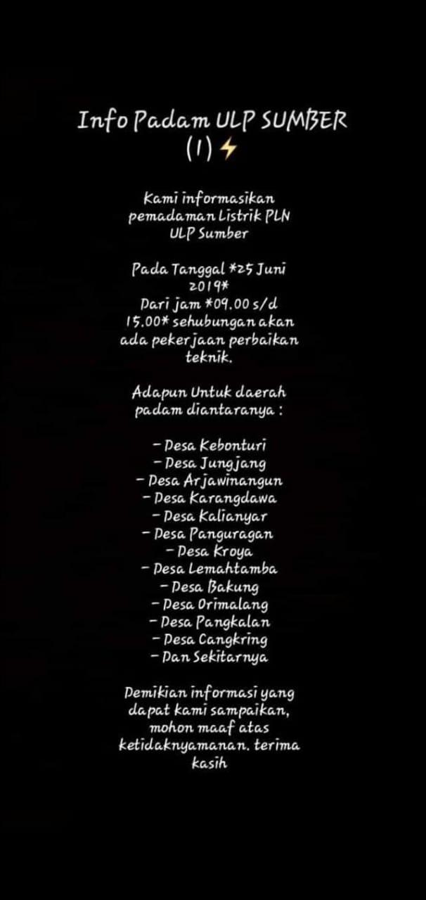 Info pemadaman listrik PLN ULP Sumber