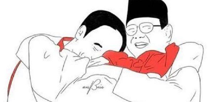 Ilustrasi Prabowo-Jokowi berpelukan bersama atlet./Foto: Istimewa