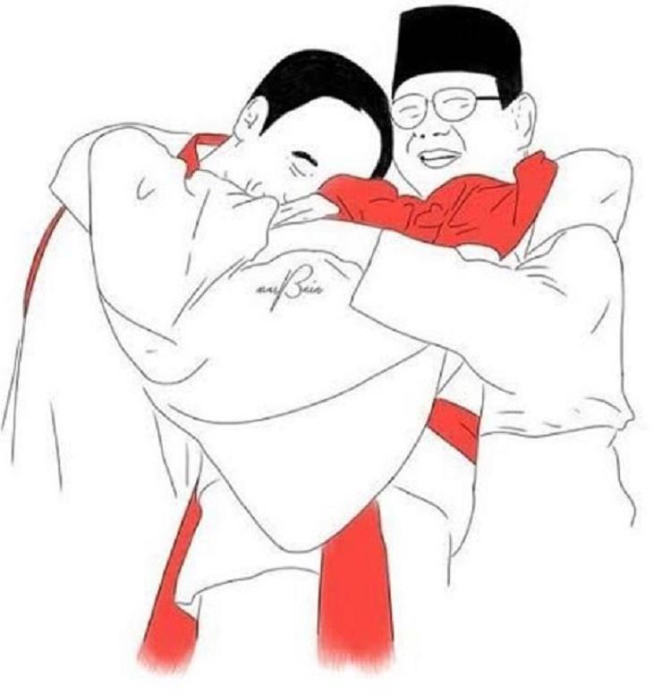Prabowo-Jokowi berpelukan bersama atlet