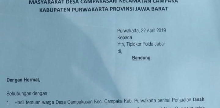 Surat pengaduan dari warga yang ditujukan untuk Polda Jabar, atas dugaan penjualan tanah kuburan. (sore tadi diterima redaksi)