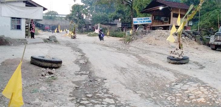 Puluhan pohon pisang ditanam warga di sepanjang jalan Padabeunghar – Jampangtengah sebagai bentuk protes kepada pemerintah supaya jalan segera diperbaiki. Ist