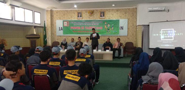 Kontingen Pionir IX Tahun 2019 IAIN Syekh Nurjati Cirebon saat dikukuhkan untuk mengikuti lomba Pekan Ilmiah Olahraga Seni dan Riset. Alwi/pojokjabar
