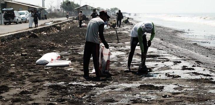 Limbah minyak di Karawang./Foto: Ega