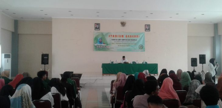 Mahasiswa Fakultas Ilmu Tarbiyah dan Keguruan (FITK) IAIN Syekh Nurjati Cirebon saat mengikuti stadium general. Alwi/pojokjabar