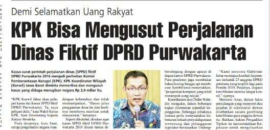 Salah satu halaman koran Rakyat Merdeka yang yang sedang hangat di bahas masyarakat purwakarta, terkait dengan masalah kpk akan selidiki kasus korupsi sppd fiktif tahun 2016 di Purwakarta