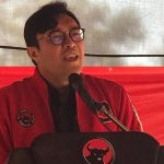 Ketua DPD PDI Perjuangan Jabar, Ono Surono saat sambutan dihadapan kader PDIP Indramayu. Yanto/pojokjabar