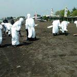 Pembersihan Pantai Pelangi Karawang dari tumpahan minyak (ega)