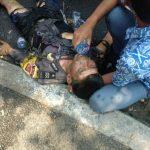Salah satu petugas polisi di Cianjur yang terbakar