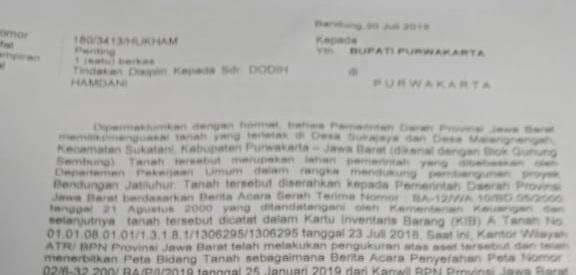 Surat dari gubernur jabar untuk bupati purwakarta yang diterima redaksi, terkait dengan tanah negara yang diduga di perjualbelikan.