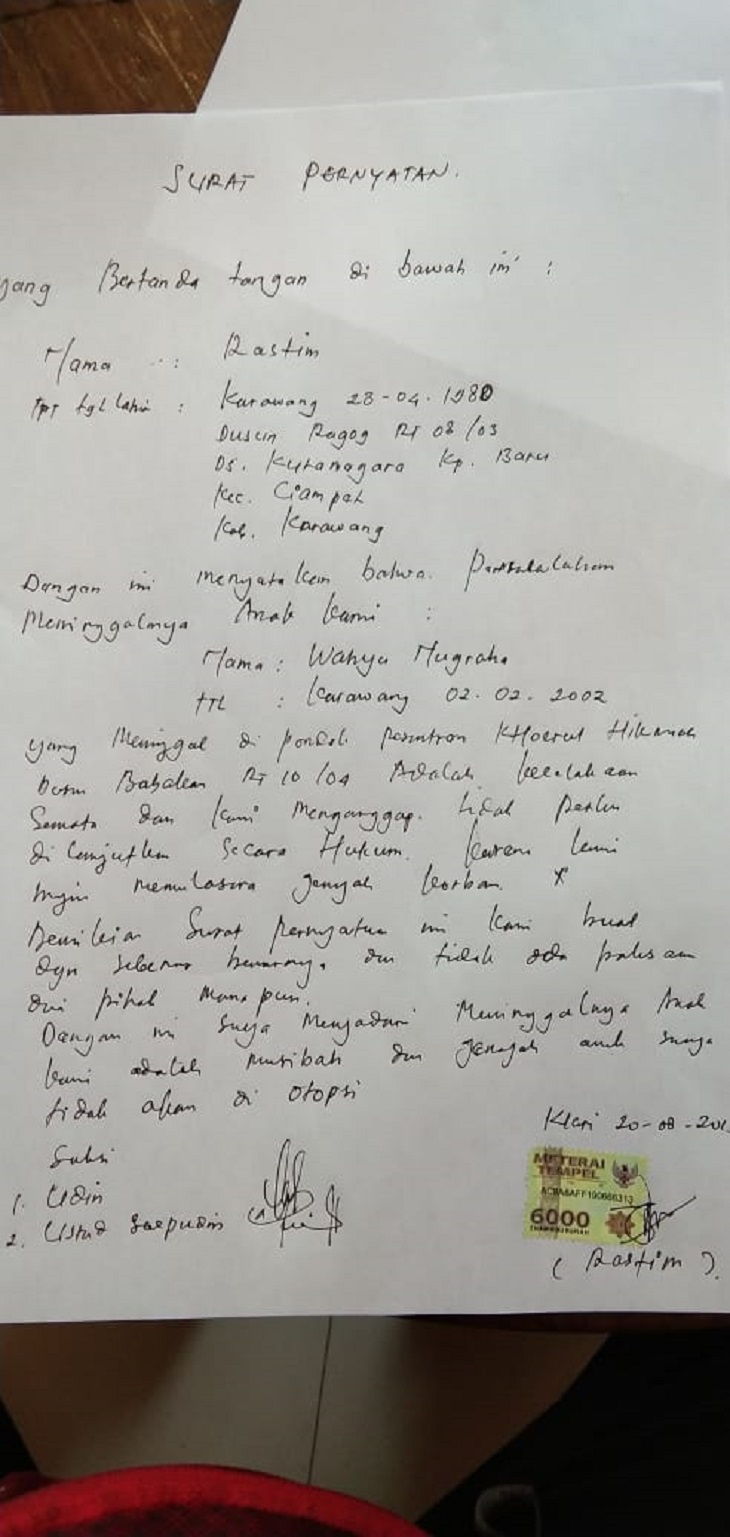 Surat pernyataan dari keluarga korban