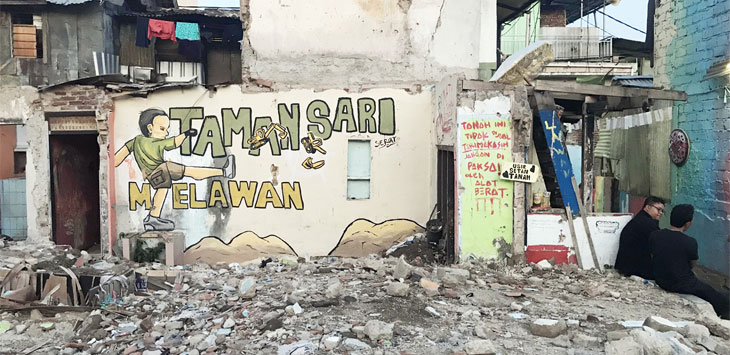 Suasanan di Kelurahan Tamansari, Kecamatan Bandung Wetan, Kota Bandung pasca-pembongkaran. Pemkot Bandung bakal amankan aset pascaproses hukum dan izin lingkungan selesai.