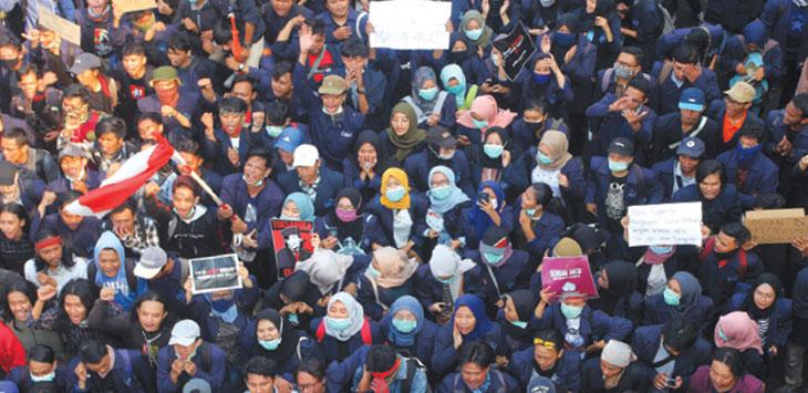 (Ilustrasi)  Demo mahasiswa.