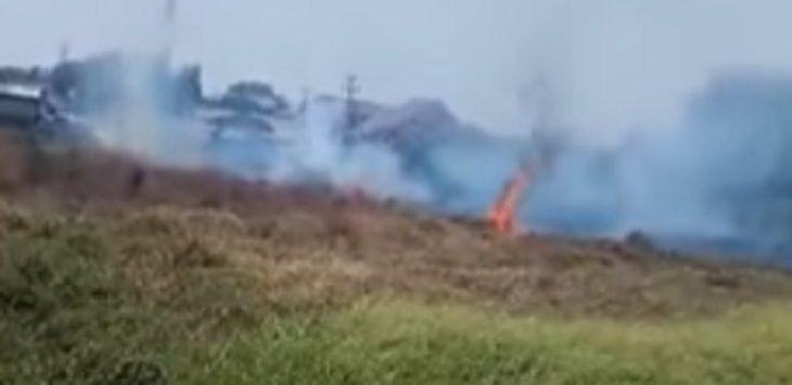 Kebakaran lahan di Karawang, Jumat (20/9/2019)./Foto: Istimewa