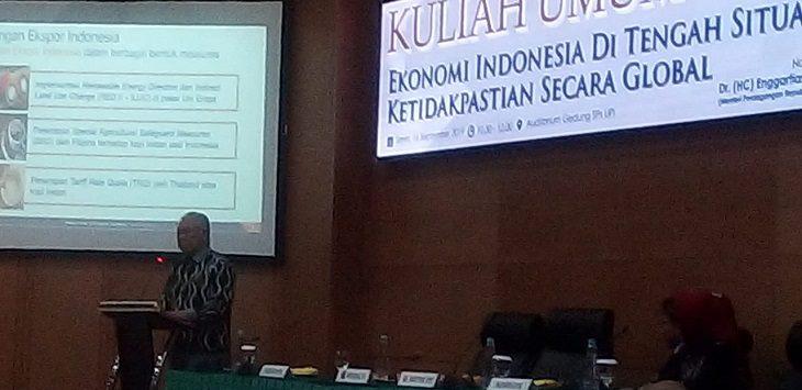 Kuliah umum Mendag Enggartiasto Lukita di kampus UPI Bandung, Senin (16/9/2019)./Foto: Arief