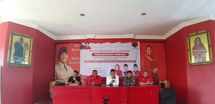 Suasana lokasi bursa Cabup PDI Perjuangan Kabupaten Karawang./Foto: Ega