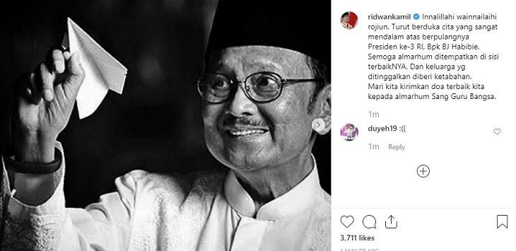 Postingan Gubernur Jabar Ridwan Kamil terkaitwafatnya  B.J. Habibie./Foto: Istimewa