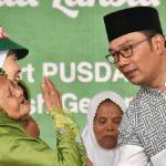 Ridwan Kamil saat menghadiri Muslimat NU Peduli Lansia Menuju Jabar Juara Lahir Batin