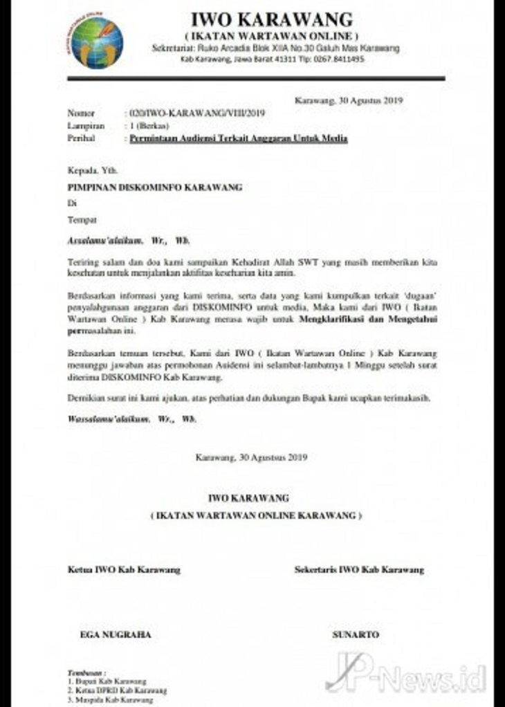 Surat Kominfo dan IWO Karawang