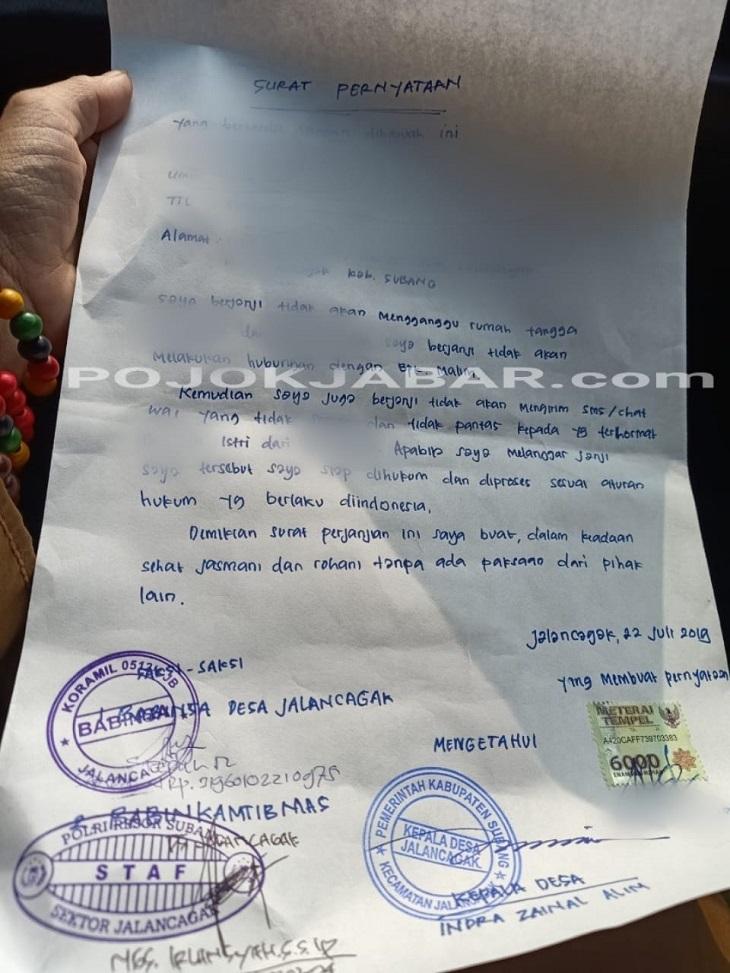 surat pernyataan pelakor di Subang