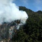 Kebakaran hutan di area obyek wisata Kawah Putih